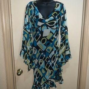 SUE WONG SILK DRESS SZ 4 GEOMETRIC MULTI-COLOR